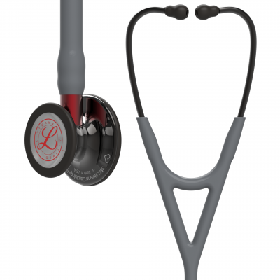 3M™ Littmann® Cardiology IV - Limited Edition High Polish Smoke Finish / Grauer Schlauch, Roter Schlauchanschluss & Ohrbügel in Schwarz