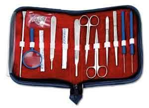 Präparier-/Anatomie-Set in Reisverschlusstasche