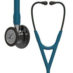 3M™ Littmann® Cardiology IV - High Polish Smoke Finish / Karibikblauer Schlauch, Mirror Schlauchanschluss & Schwarzer Ohrbügel in Schwarz