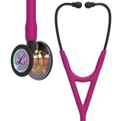 3M™ Littmann® Cardiology IV - High Polish Rainbow / Himbeerroter Schlauch, Smoke Schlauchanschluss & Smoke Ohrbügel in Schwarz