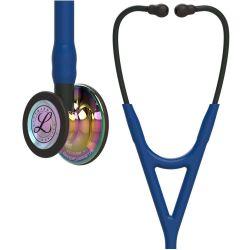 3M™ Littmann® Cardiology IV - High Polish Rainbow / Marineblauer Schlauch, Schwarzer Schlauchanschluss & Schwarze Ohrbügel in Schwarz