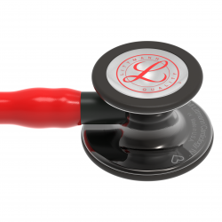 3M™ Littmann® Cardiology IV - Limited Edition High Polish Smoke Finish / Roter Schlauch, Smoke Schlauchanschluss & Smoke Ohrbügel in Schwarz