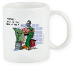 Cartoontasse Hell im Hals