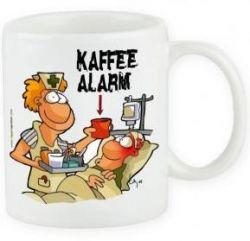 Cartoontasse Kaffeealarm Pflege
