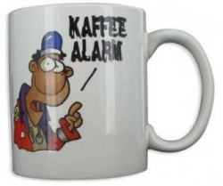 Cartoontasse Kaffeealarm Rettungsdienst
